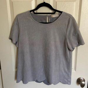 Grey velvet top